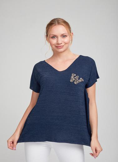 Optique Knitwear Işlemeli V Yaka Kısa Kol Penye Bluz Lacivert